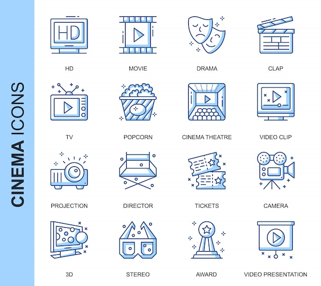 Zestaw ikon związanych z kinem cienkiej linii Premium Wektorów