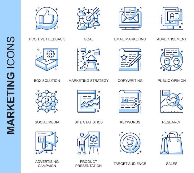 Zestaw ikon związanych z marketingiem cienkich linii Premium Wektorów