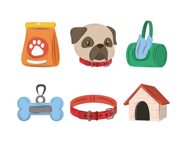 Zestaw Ikon Zwierząt Domowych, Obroża Dla Psa Kość I Ilustracja Płaski Dom Premium Wektorów