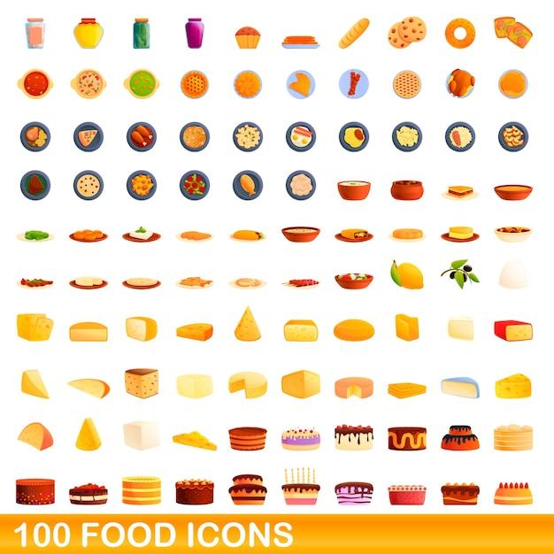 Zestaw Ikon żywności. Ilustracja Kreskówka Ikony żywności Na Białym Tle Premium Wektorów