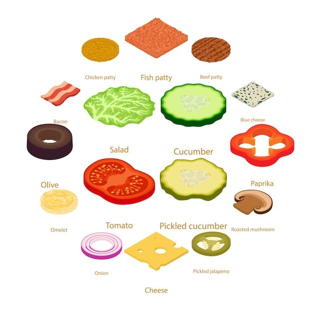 Zestaw ikon żywności pokroić, styl izometryczny Premium Wektorów