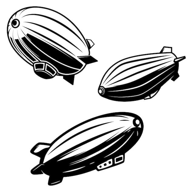 Zestaw Ilustracji Aerostatu Na Białym Tle. Sterowce Zeppeliny. Elementy Logo, Etykiety, Godła, Znaku. Wizerunek Premium Wektorów