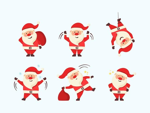 Zestaw Ilustracji Boże Narodzenie Kreskówka Na Białym Tle. Premium Wektorów
