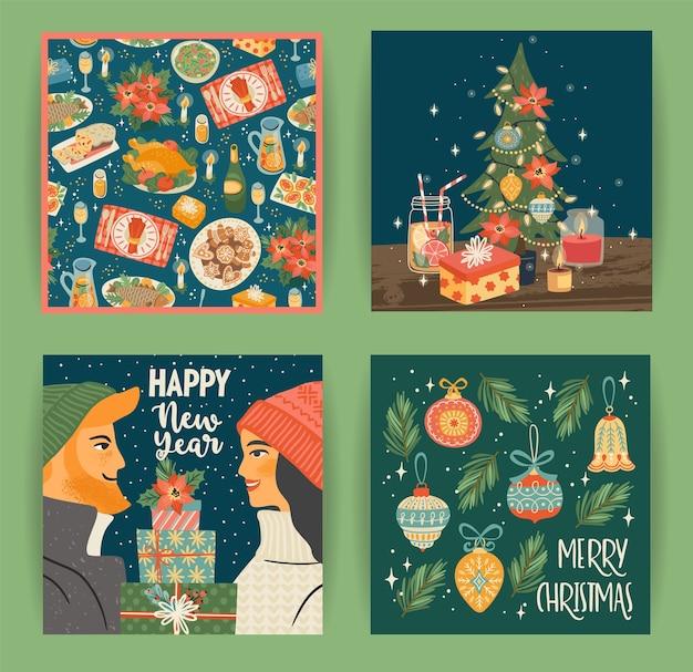 Zestaw Ilustracji Bożego Narodzenia I Szczęśliwego Nowego Roku Z Symbolami Bożego Narodzenia Młody Chłopak I Dziewczyna Premium Wektorów