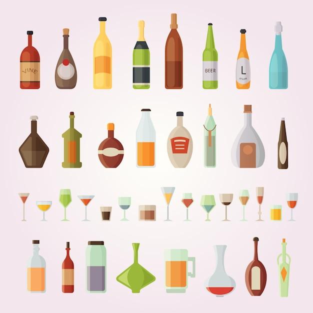 Zestaw Ilustracji Butelek Alkoholu I Szklanek Premium Wektorów
