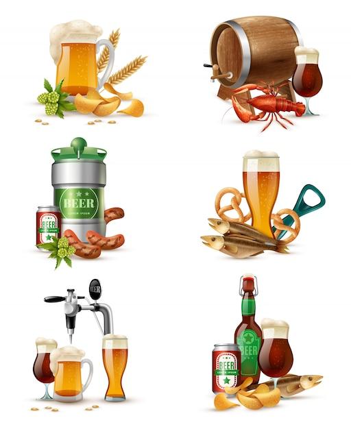 Zestaw ilustracji do piwa z beczki Darmowych Wektorów