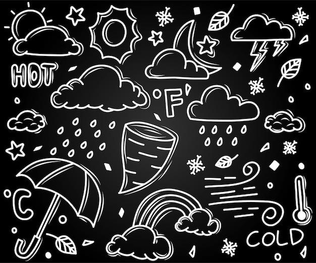 Zestaw Ilustracji Doodle Pogody Premium Wektorów