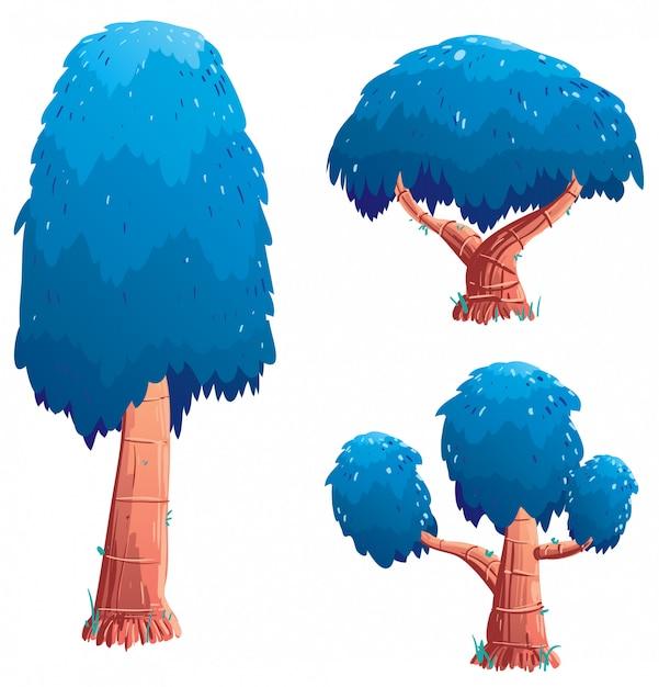 Zestaw ilustracji drzewa Premium Wektorów