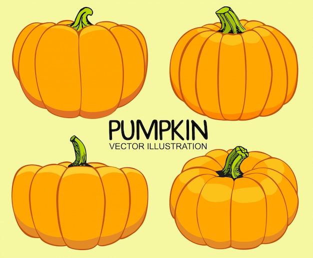 Zestaw ilustracji dynie pomarańczowy jesień. Premium Wektorów