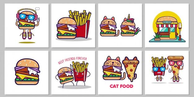 Zestaw ilustracji fastfood Premium Wektorów