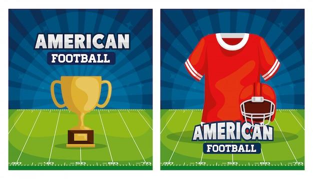 Zestaw Ilustracji Futbolu Amerykańskiego Z Dekoracją Premium Wektorów