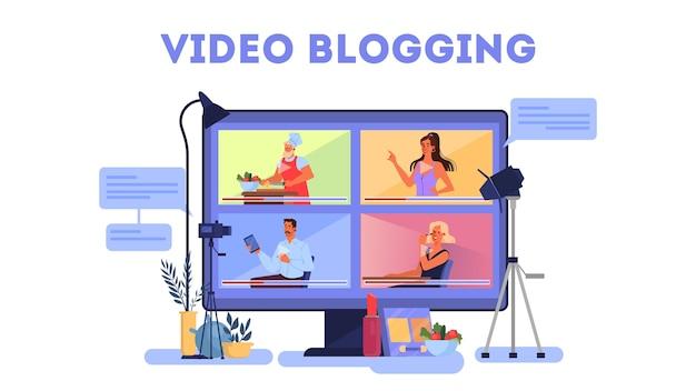 Zestaw Ilustracji Koncepcja Bloggera. Udostępniaj Treści W Internecie. Premium Wektorów