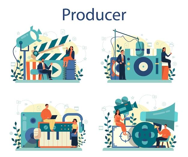 Zestaw Ilustracji Koncepcji Producenta Premium Wektorów