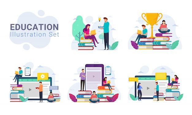 Zestaw Ilustracji Koncepcji Projektu Edukacji Premium Wektorów