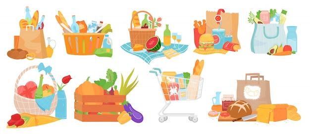 Zestaw Ilustracji Koszyka żywności, Kolekcja Kreskówek Z Pojemnikiem, Tradycyjne Kosze Koszowe I Piknikowe Ze Smacznym Jedzeniem Premium Wektorów