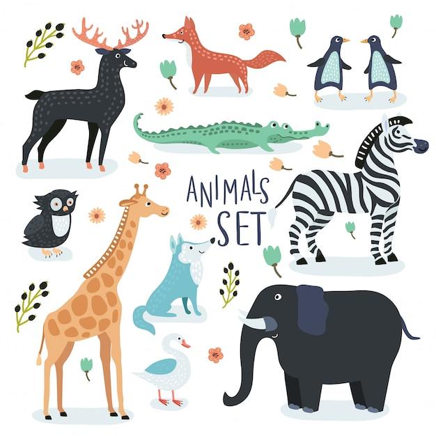 Zestaw Ilustracji Kreskówek Zabawnych Zwierząt Cute Kreskówki W Kolorze Vintage Premium Wektorów