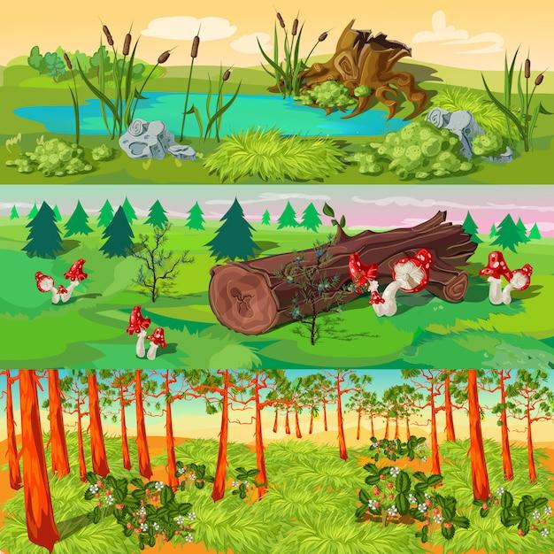 Zestaw Ilustracji Lasu Darmowych Wektorów