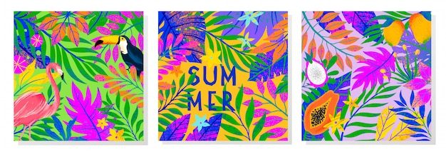 Zestaw Ilustracji Letnich Z Jasnymi Liśćmi Tropikalnymi, Flamingiem, Tukanem I Owocami Egzotycznymi. Wielokolorowe Rośliny. Egzotyczne Tła Idealne Na Wydruki, Ulotki, Banery, Zaproszenia, Media Społecznościowe. Premium Wektorów