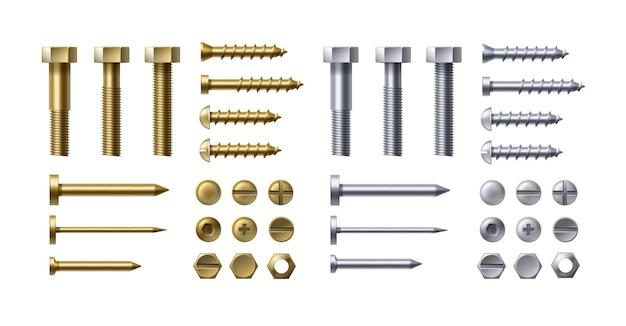 Zestaw Ilustracji Metalowych śrub Premium Wektorów