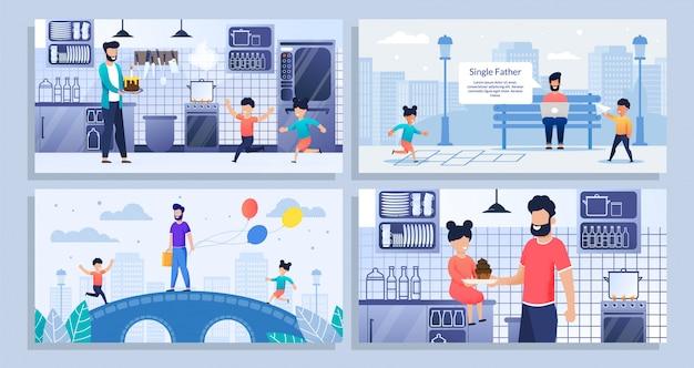 Zestaw Ilustracji O Dniu Ojca, Samotny Ojciec Z Dziećmi Premium Wektorów