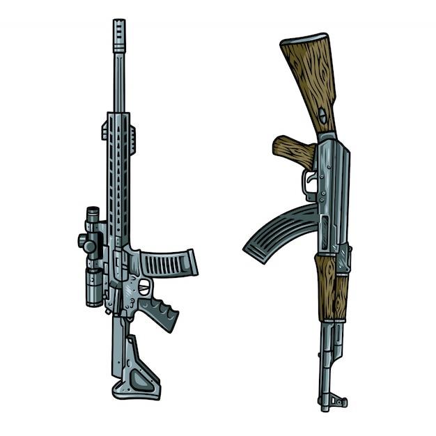 Zestaw Ilustracji Pistoletu Premium Wektorów