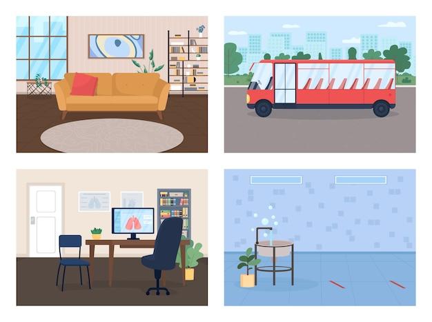 Zestaw Ilustracji Płaski Kolor środowiska Społecznego Nowoczesny Salon Modny Dom Przedszkole Toaleta Lekarz Biuro Wnętrze Kreskówki Premium Wektorów