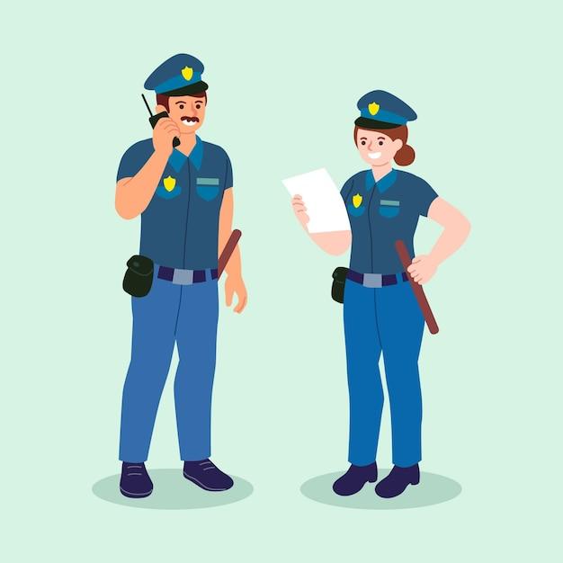 Zestaw Ilustracji Policji Darmowych Wektorów
