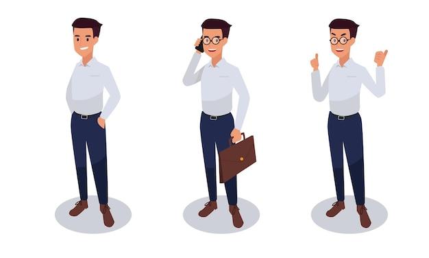 Zestaw Ilustracji Postaci Biznesmen Darmowych Wektorów