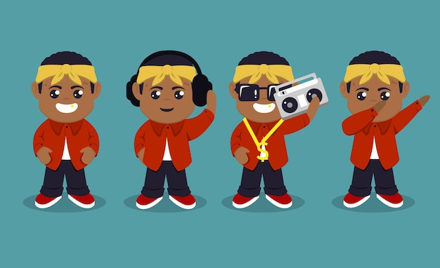 Zestaw Ilustracji Projekt Maskotka ładny Raper Hip-hop Premium Wektorów