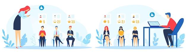 Zestaw Ilustracji Rekrutacji Oceny Społecznej. Premium Wektorów