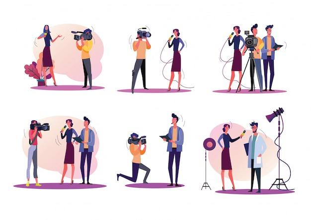 Zestaw Ilustracji Reporterów Darmowych Wektorów