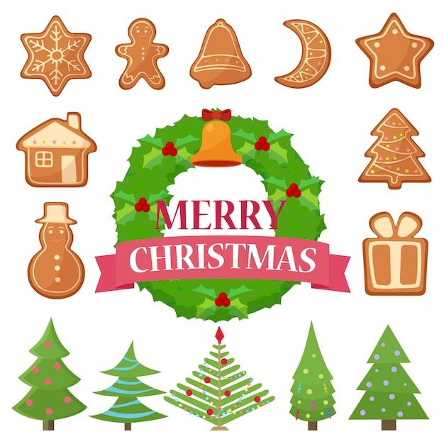 Zestaw Ilustracji Różnych świątecznych Ciasteczek, Ciast I Drzew Z Wieńcem. Premium Wektorów