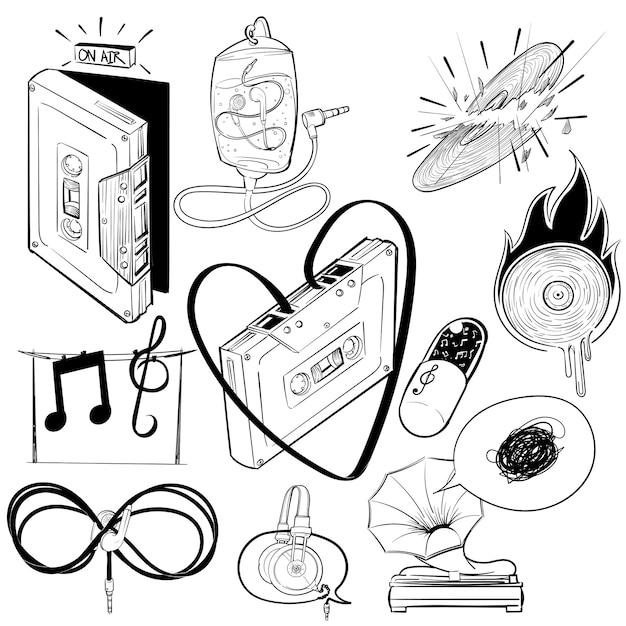 Zestaw Ilustracji Rysunek Muzyki Rozrywkowej Darmowych Wektorów