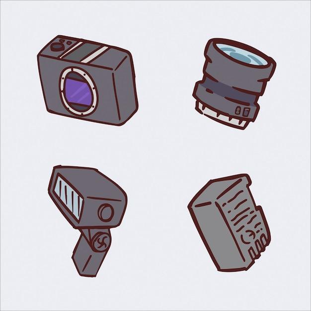 Zestaw Ilustracji Rysunek Ręka Aparat Cyfrowy Premium Wektorów