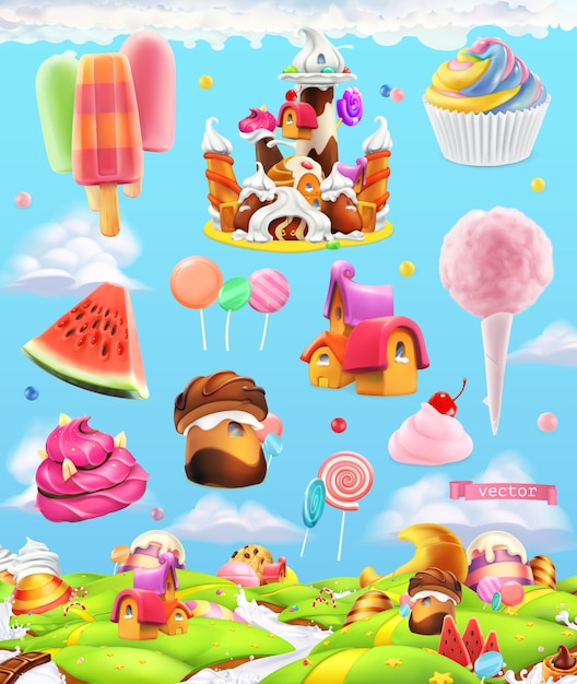 Zestaw Ilustracji Słodkich Cukierków Premium Wektorów
