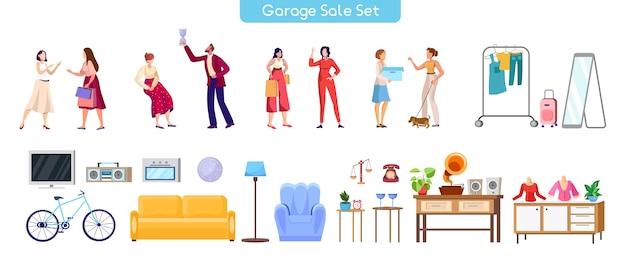 Zestaw Ilustracji Sprzedaży Garażu Premium Wektorów
