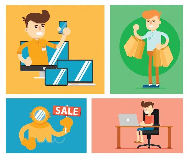 Zestaw ilustracji sprzedaży ze zniżkami Premium Wektorów