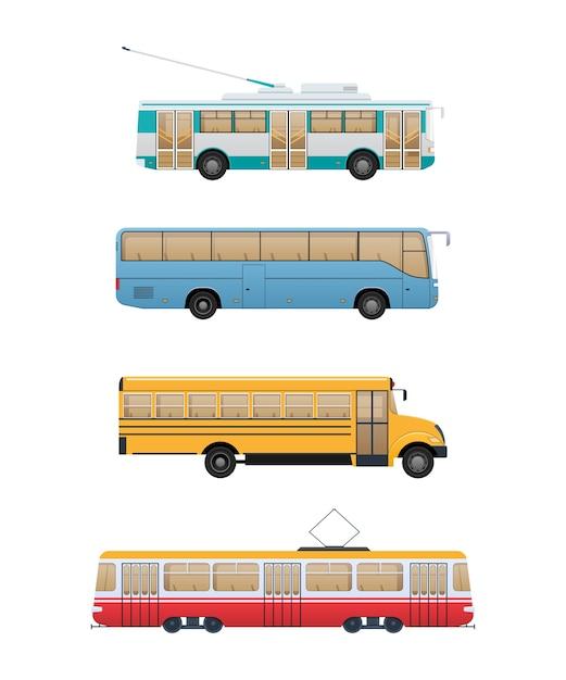 Zestaw Ilustracji Transportu Nowoczesnych Tras Miejskich. Premium Wektorów