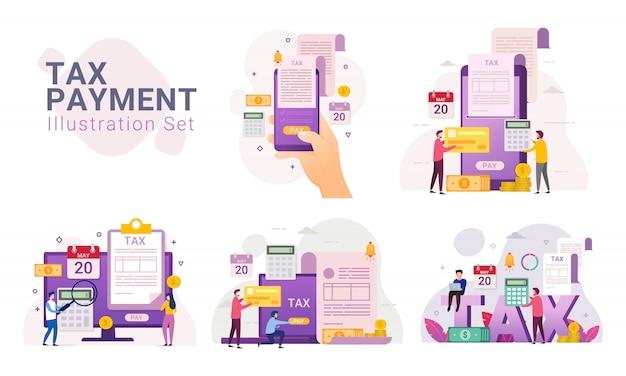 Zestaw Ilustracji Usługi Płatności Podatku Online Premium Wektorów