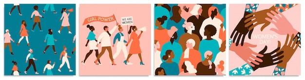 Zestaw Ilustracji Wektorowych. 8 Marca, Międzynarodowy Dzień Kobiet. Premium Wektorów