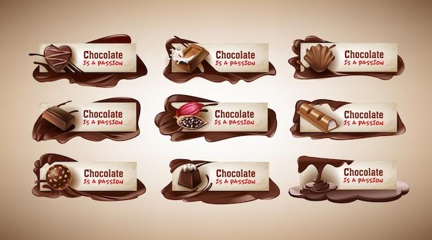 Zestaw ilustracji wektorowych, banery z słodyczy czekoladowych, czekolada, fasola kakaowa i czekolada stopiona Darmowych Wektorów