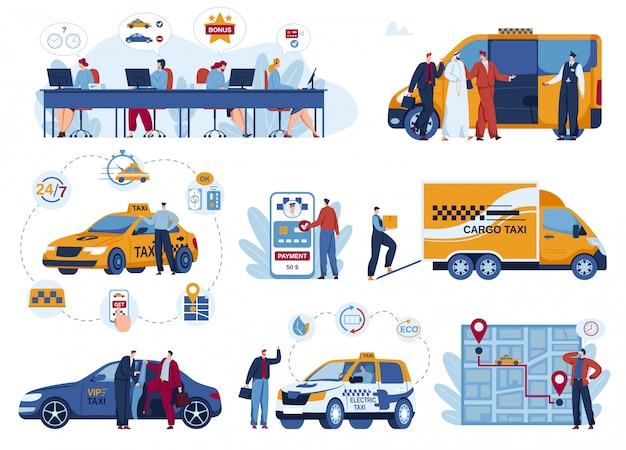Zestaw Ilustracji Wektorowych Dostawy Samochodu Taksówką. Premium Wektorów