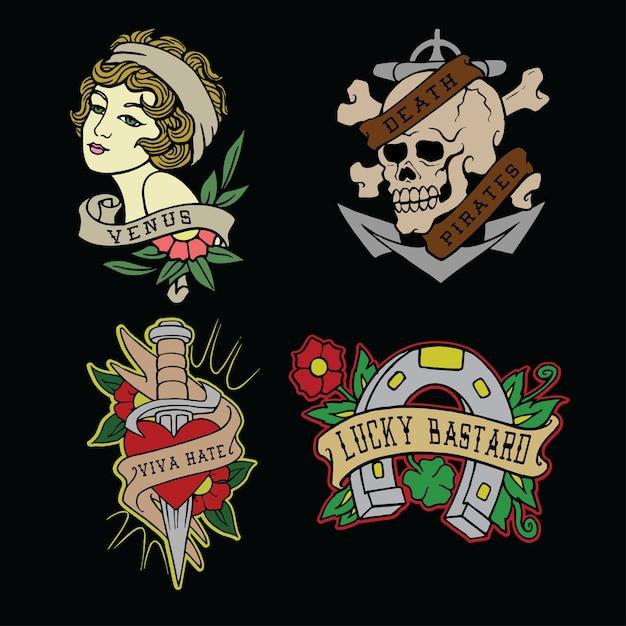 Zestaw Ilustracji Wektorowych Flash Tatuaż Premium Wektorów