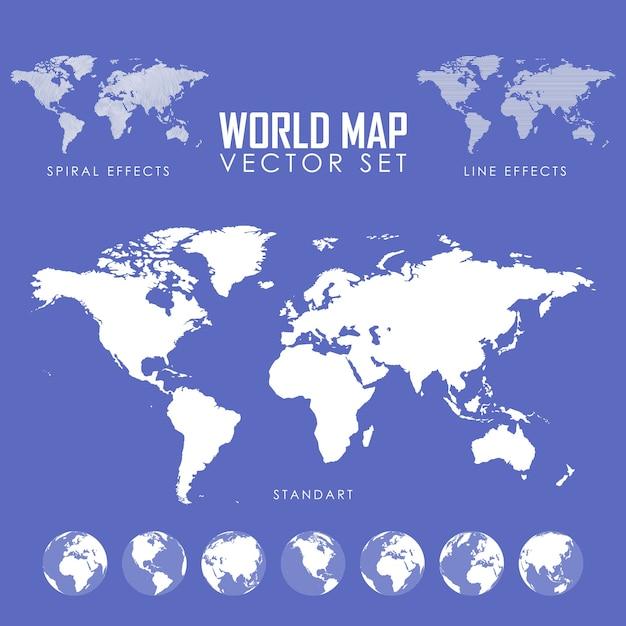 Zestaw Ilustracji Wektorowych Mapy świata Premium Wektorów