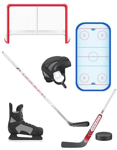 Zestaw Ilustracji Wektorowych Sprzętu Hokejowego Premium Wektorów