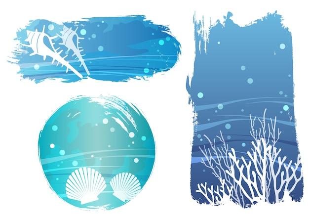 Zestaw Ilustracji Wektorowych Tło Wektor Podmorski Ze Skorupiaków I Koralowców Na Białym Tle Darmowych Wektorów