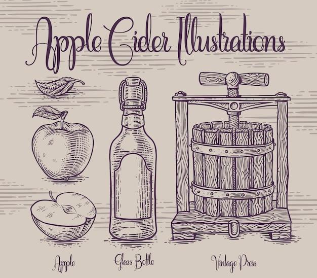 Zestaw Ilustracji Z Jabłkiem Premium Wektorów