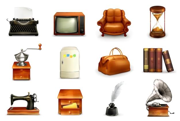 Zestaw Ilustracji Zabytkowych Obiektów Premium Wektorów