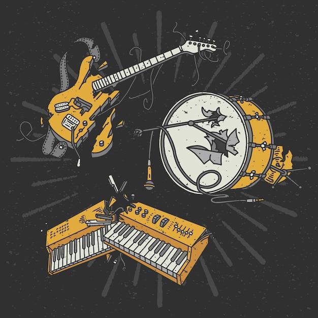 Zestaw Ilustracji Złamanych Instrumentów Muzycznych Darmowych Wektorów