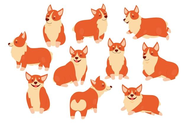 Zestaw Ilustracji Zwierzaka Szczęśliwy Pies Corgi Premium Wektorów